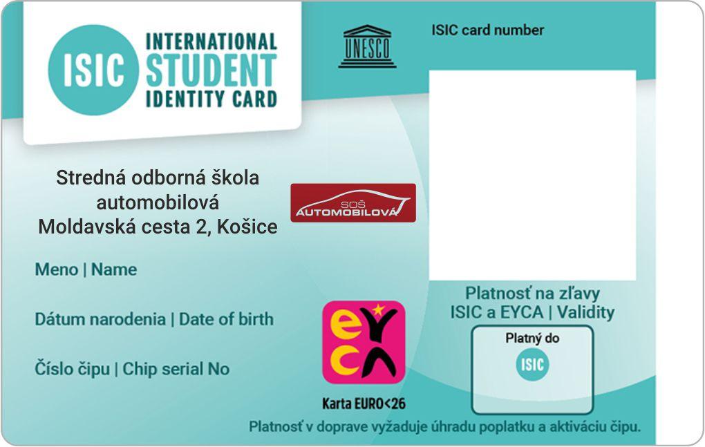 ISIC študentský identifikačný preukaz pre žiakov našej školy!
